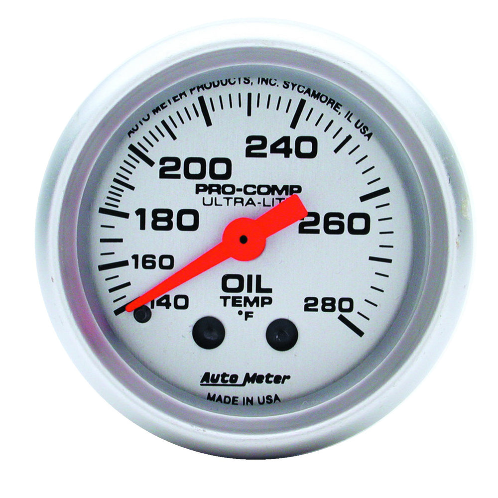 GAUGE, OIL TEMP, 2 1/16in, 140-280?F, MECHANICAL, ULTRA-LITE