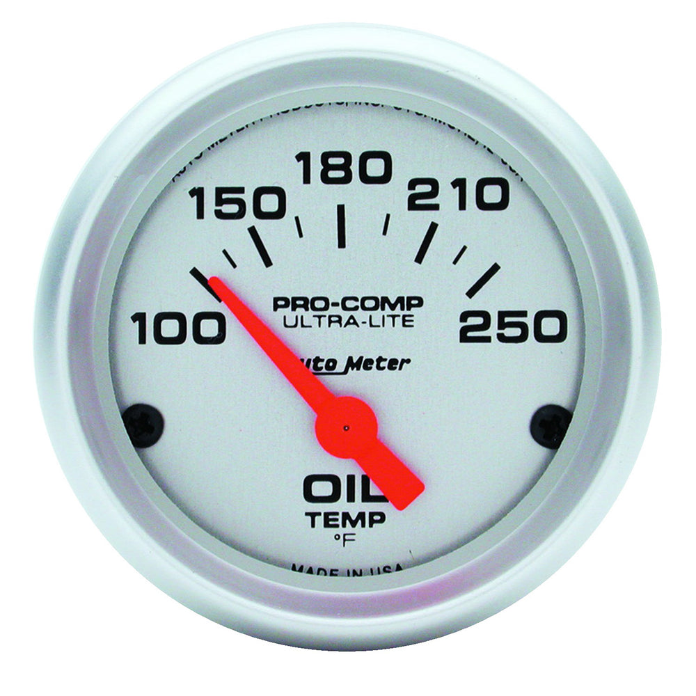 GAUGE, OIL TEMP, 2 1/16in, 100-250?F, ELECTRIC, ULTRA-LITE
