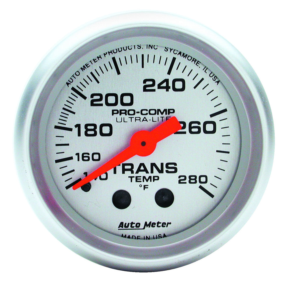 GAUGE, TRANS TEMP, 2 1/16in, 140-280?F, MECHANICAL, 8FT., ULTRA-LITE