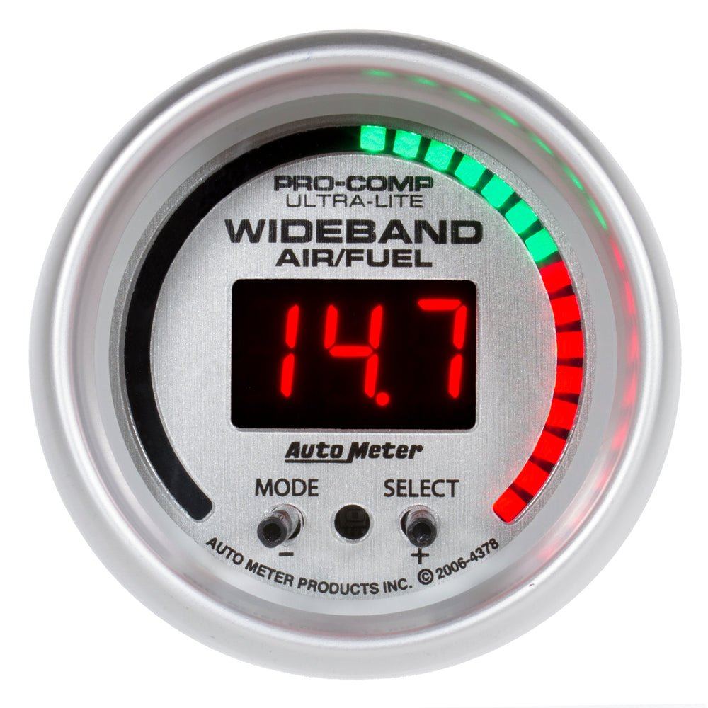 GAUGE, AIR/FUEL RATIO-PRO, 2 1/16in, 10:1-20:1, DIGITAL W/ PEAK & WRN, ULTRA-LITE