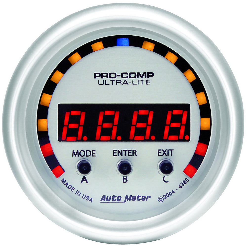 GAUGE, PERFORM METER, 2 1/16in, 1/4 MILE/HP/0-60/60-0/G FORCES, DIGITAL, UL