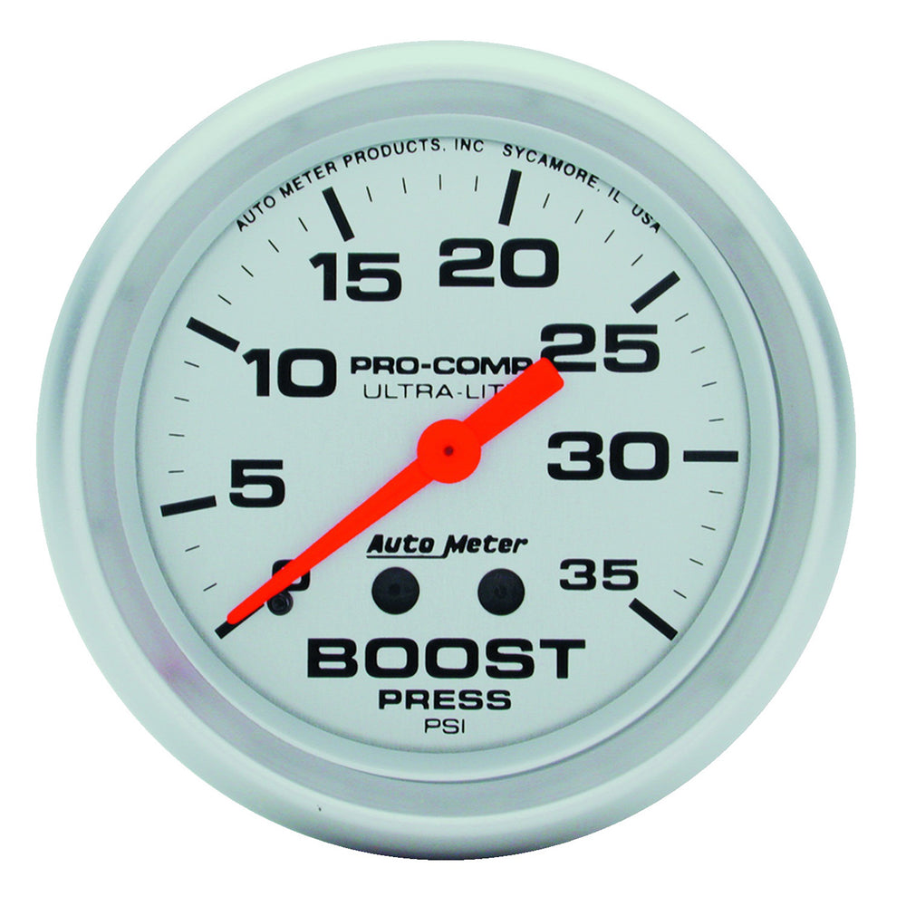 GAUGE, BOOST, 2 5/8in, 35PSI, MECHANICAL, ULTRA-LITE