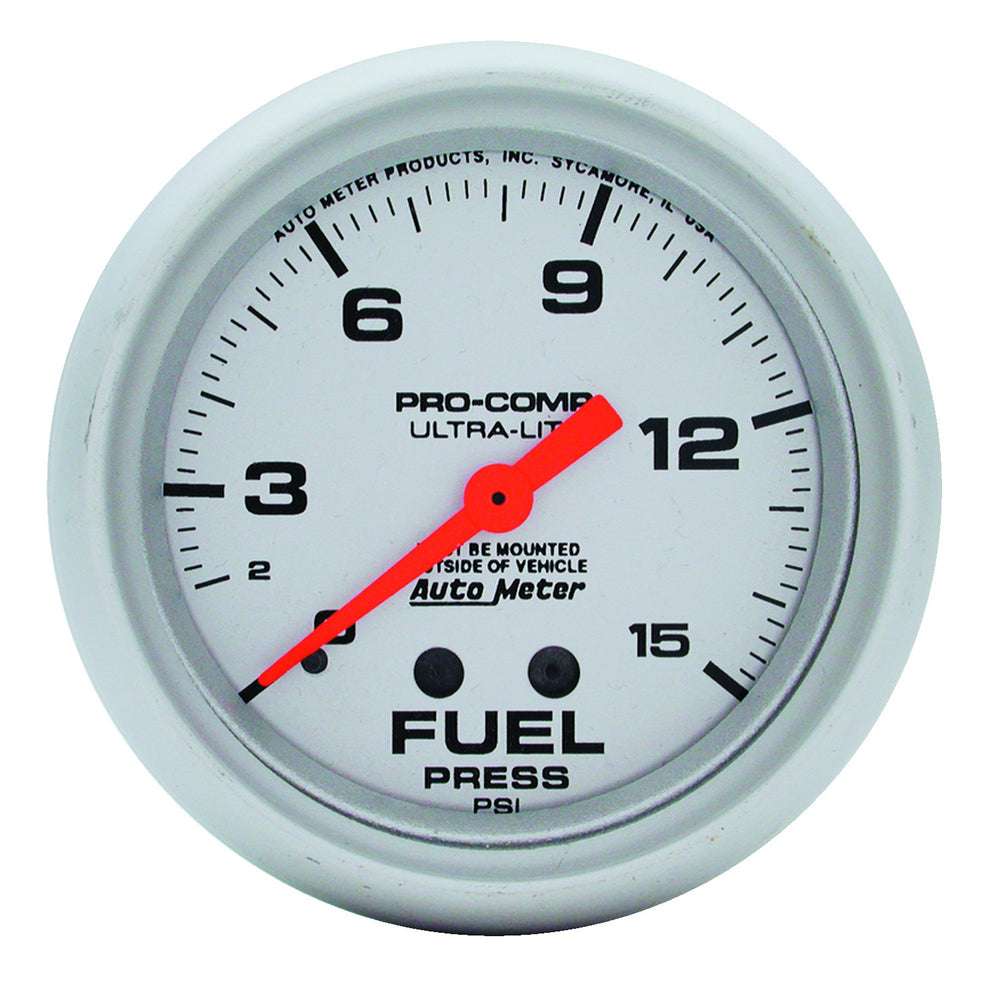 GAUGE, FUEL PRESSURE, 2 5/8in, 15PSI, MECHANICAL, ULTRA-LITE