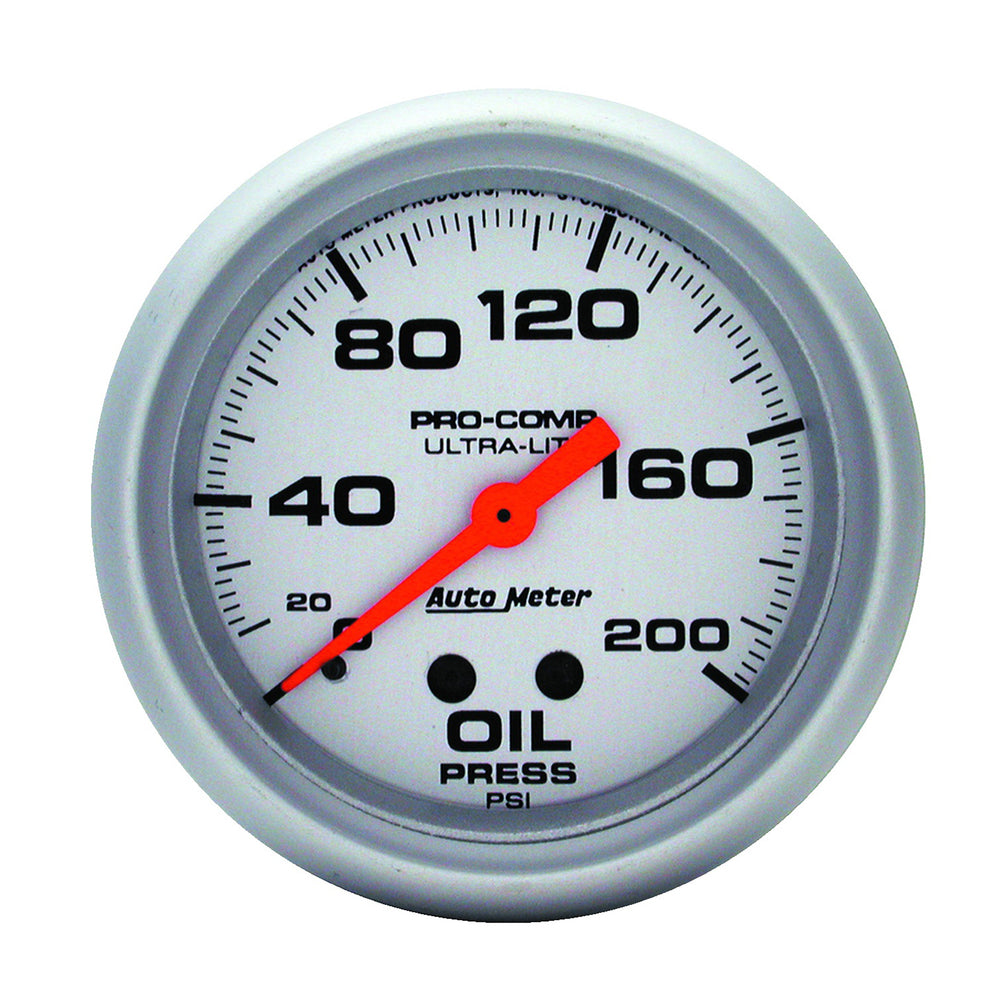 GAUGE, OIL PRESSURE, 2 5/8in, 200PSI, MECHANICAL, ULTRA-LITE