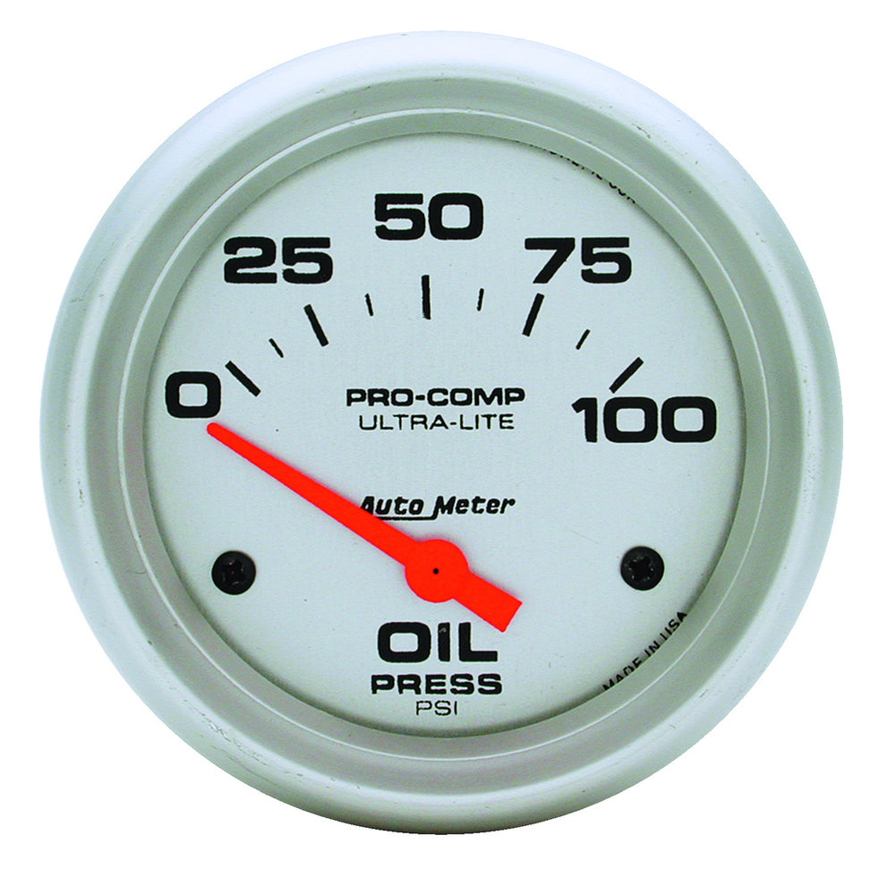 GAUGE, OIL PRESSURE, 2 5/8in, 100PSI, ELECTRIC, ULTRA-LITE