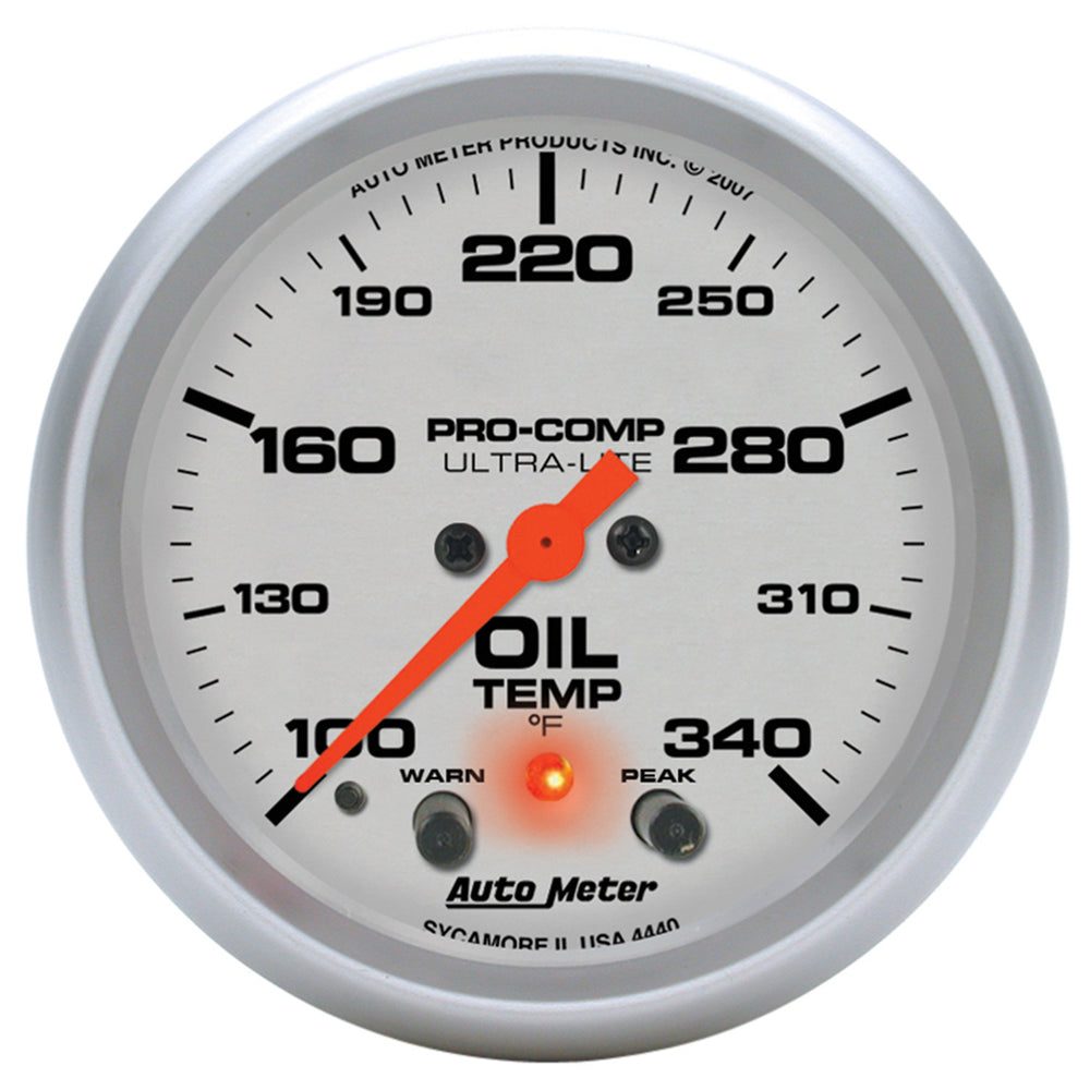 GAUGE, OIL TEMP, 2 5/8in, 140-340?F, STEPPER MOTOR W/PEAK & WARN, ULTRA-LITE