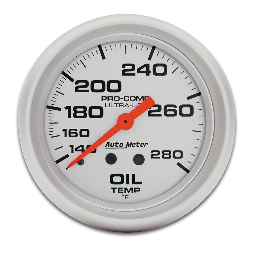 GAUGE, OIL TEMP, 2 5/8in, 140-280?F, MECHANICAL, ULTRA-LITE