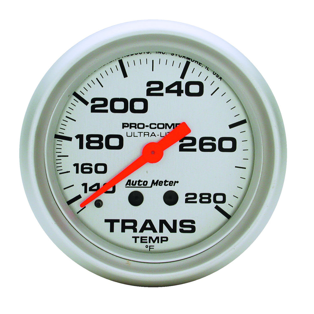 GAUGE, TRANSMISSION TEMP, 2 5/8in, 140-280?F, MECHANICAL, 8FT., ULTRA-LITE