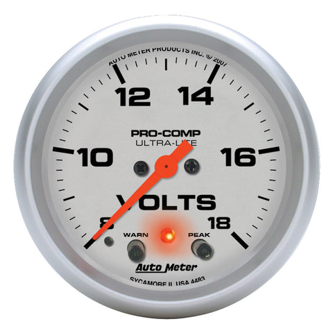 GAUGE, VOLTMETER, 2 5/8in, 18V, DIGITAL STEPPER MOTOR W/ PEAK & WARN, ULTRA-LITE