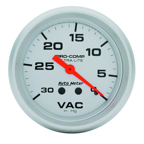 GAUGE, VACUUM, 2 5/8in, 30INHG, MECHANICAL, ULTRA-LITE