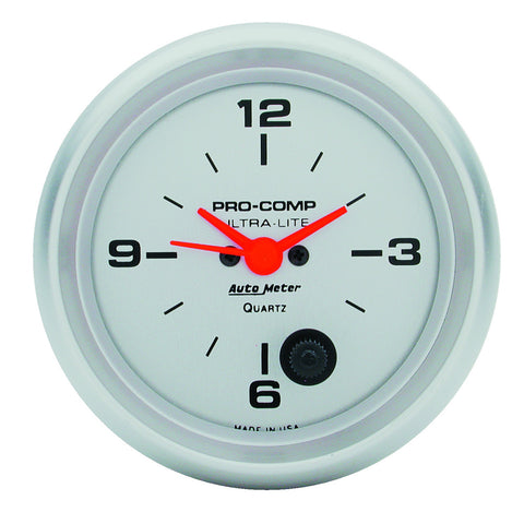 GAUGE, CLOCK, 2 5/8in, 12HR, ANALOG, ULTRA-LITE