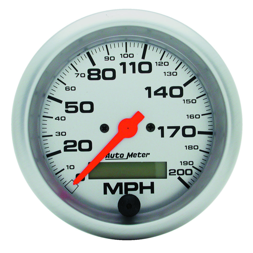 GAUGE, SPEEDO, 3 3/8in, 200MPH, ELEC. PROGRAM W/ LCD ODO, ULTRA-LITE