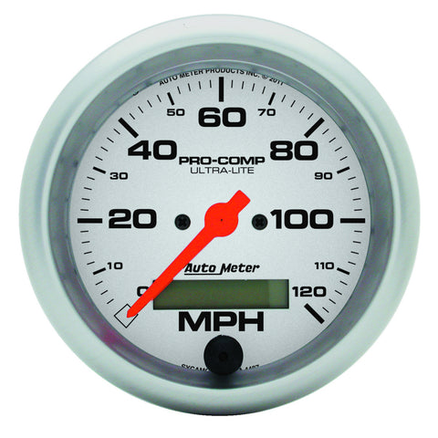 GAUGE, SPEEDO, 3 3/8in, 120MPH, ELEC. PROGRAM W/ LCD ODO, ULTRA-LITE