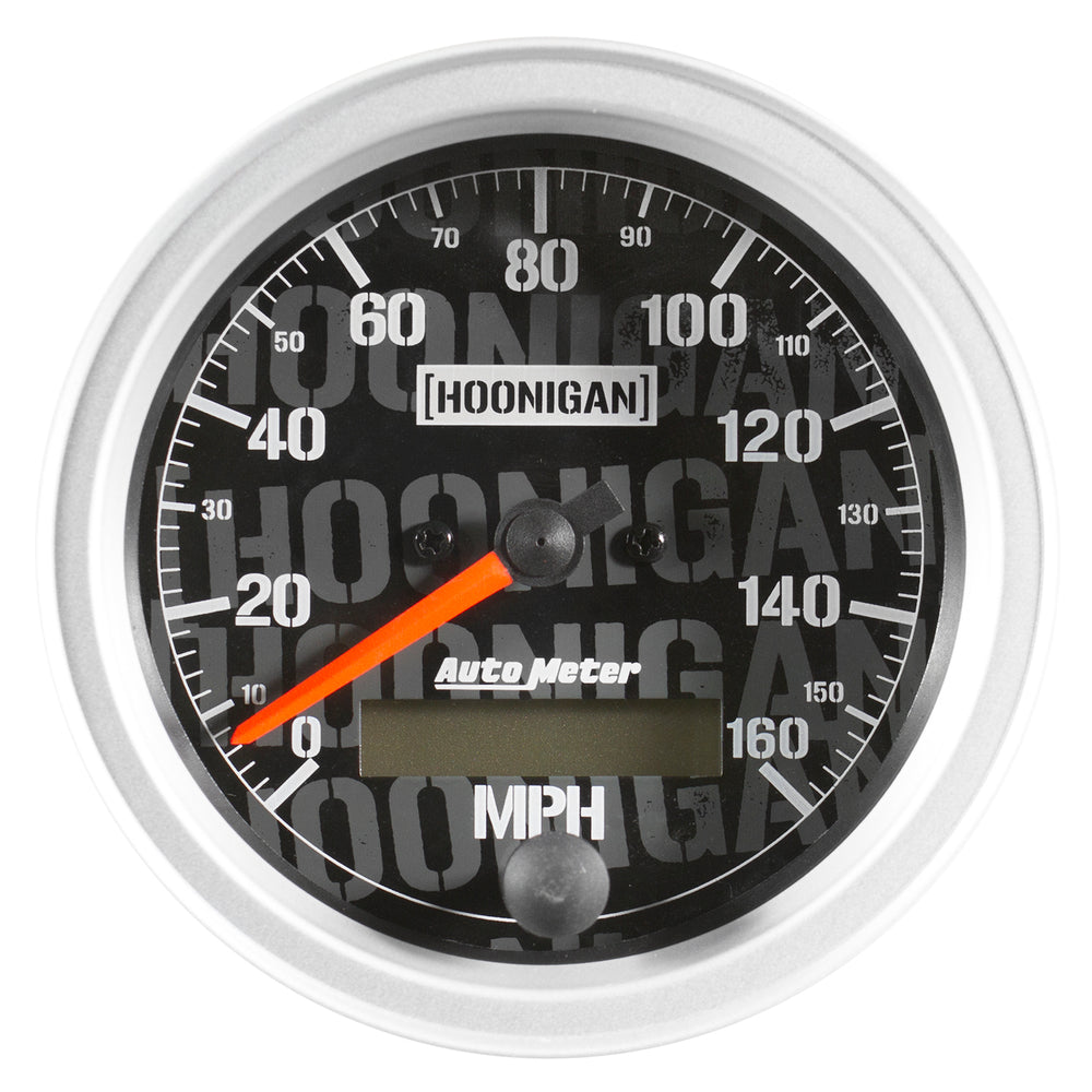 GAUGE, SPEEDO, 3 3/8in, 160MPH, ELEC. PROGRAM W/ LCD ODO, HOONIGAN