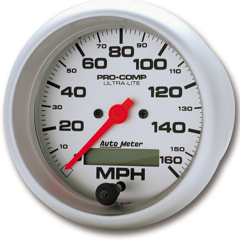 GAUGE, SPEEDO, 3 3/8in, 160MPH, ELEC. PROGRAM W/ LCD ODO, ULTRA-LITE