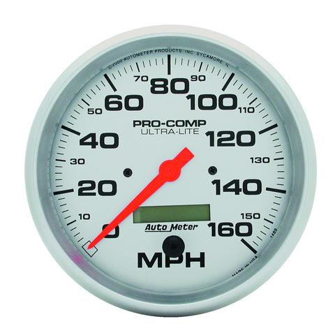 GAUGE, SPEEDO, 5in, 160MPH, ELEC. PROGRAM W/ LCD ODO, ULTRA-LITE