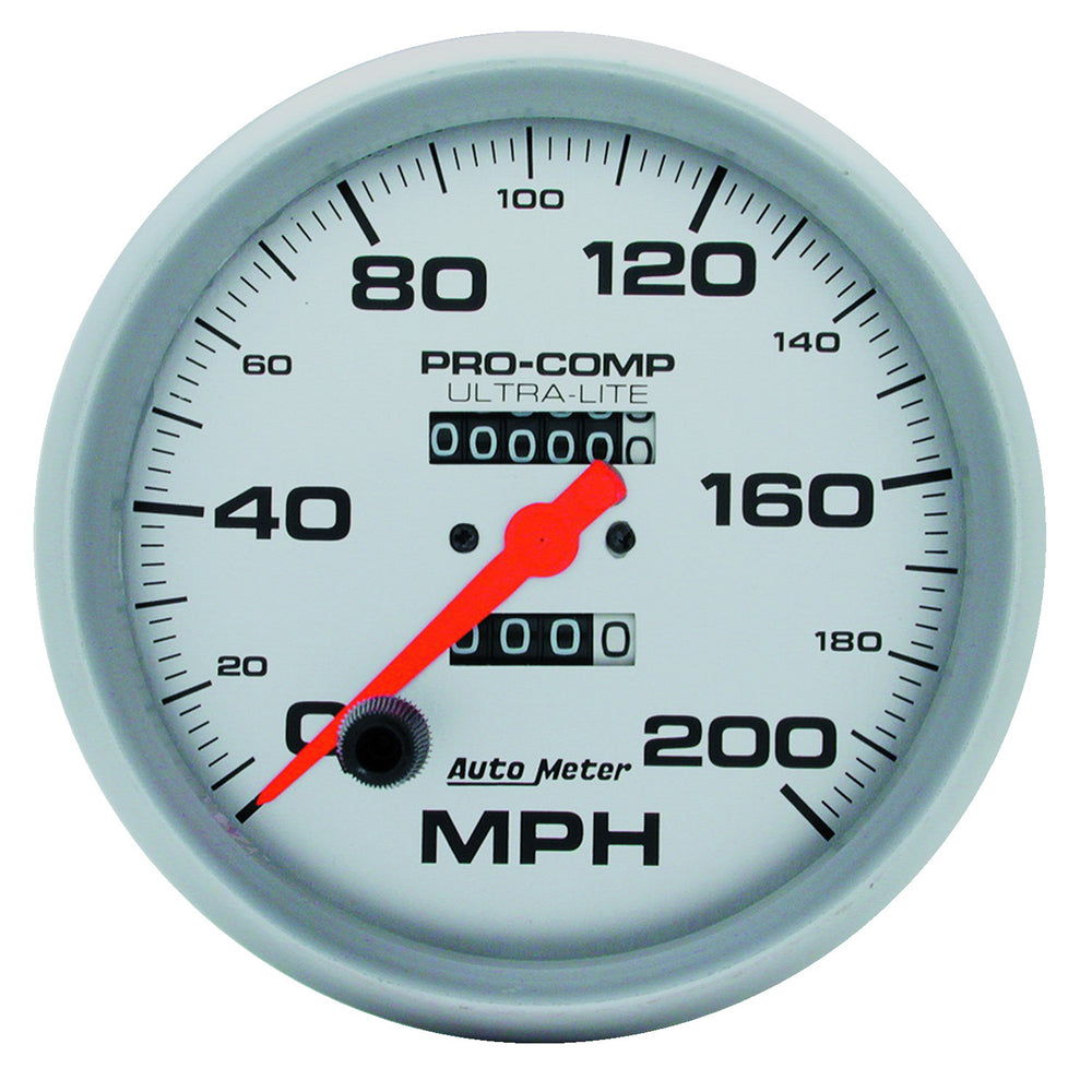 GAUGE, SPEEDOMETER, 5in, 200MPH, MECHANICAL, ULTRA-LITE
