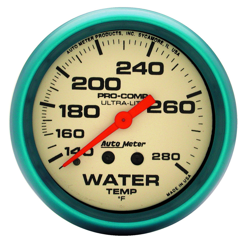 GAUGE, WATER TEMP, 2 5/8in, 140-280?F, MECH., 4FT., GLOW IN DARK, ULTRA-NITE