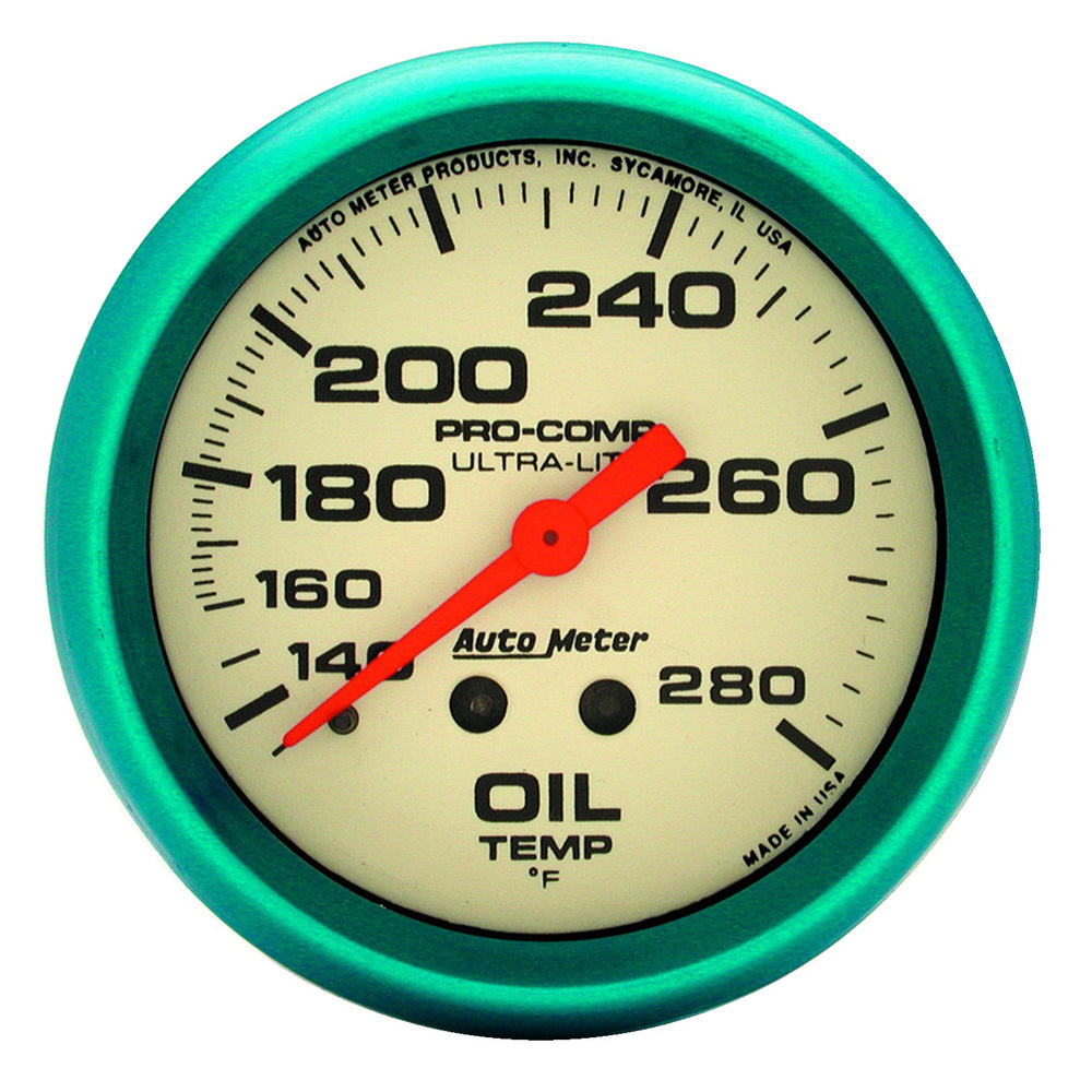 GAUGE, OIL TEMP, 2 5/8in, 140-280?F, MECH., GLOW IN THE DARK, ULTRA-NITE