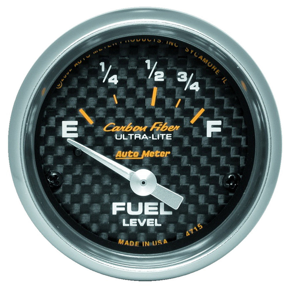 GAUGE, FUEL LEVEL, 2 1/16in, 73OE TO 10OF, ELEC, CARBON FIBER