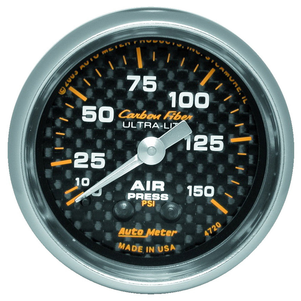 GAUGE, AIR PRESSURE, 2 1/16in, 150PSI, MECHANICAL, CARBON FIBER