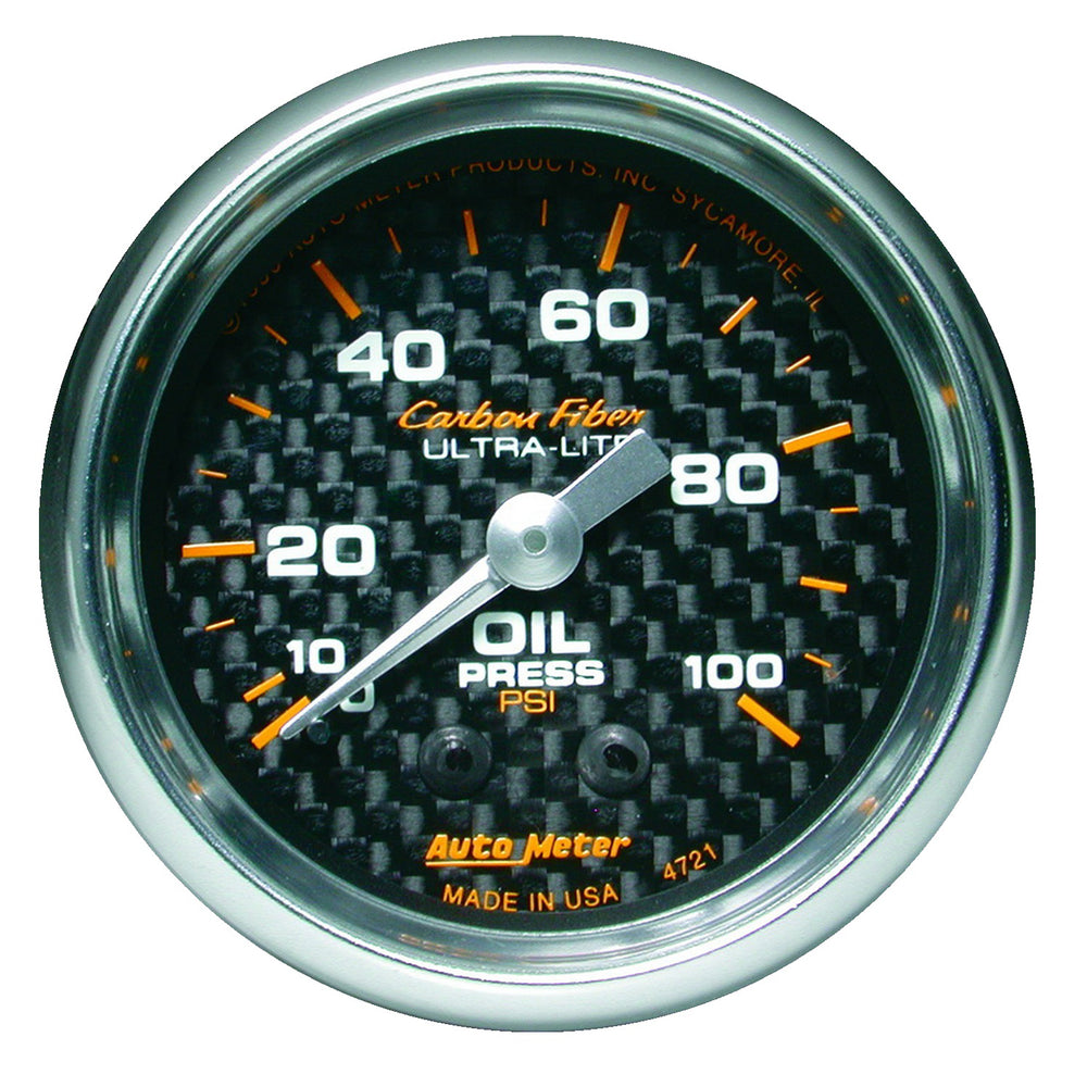GAUGE, OIL PRESSURE, 2 1/16in, 100PSI, MECHANICAL, CARBON FIBER