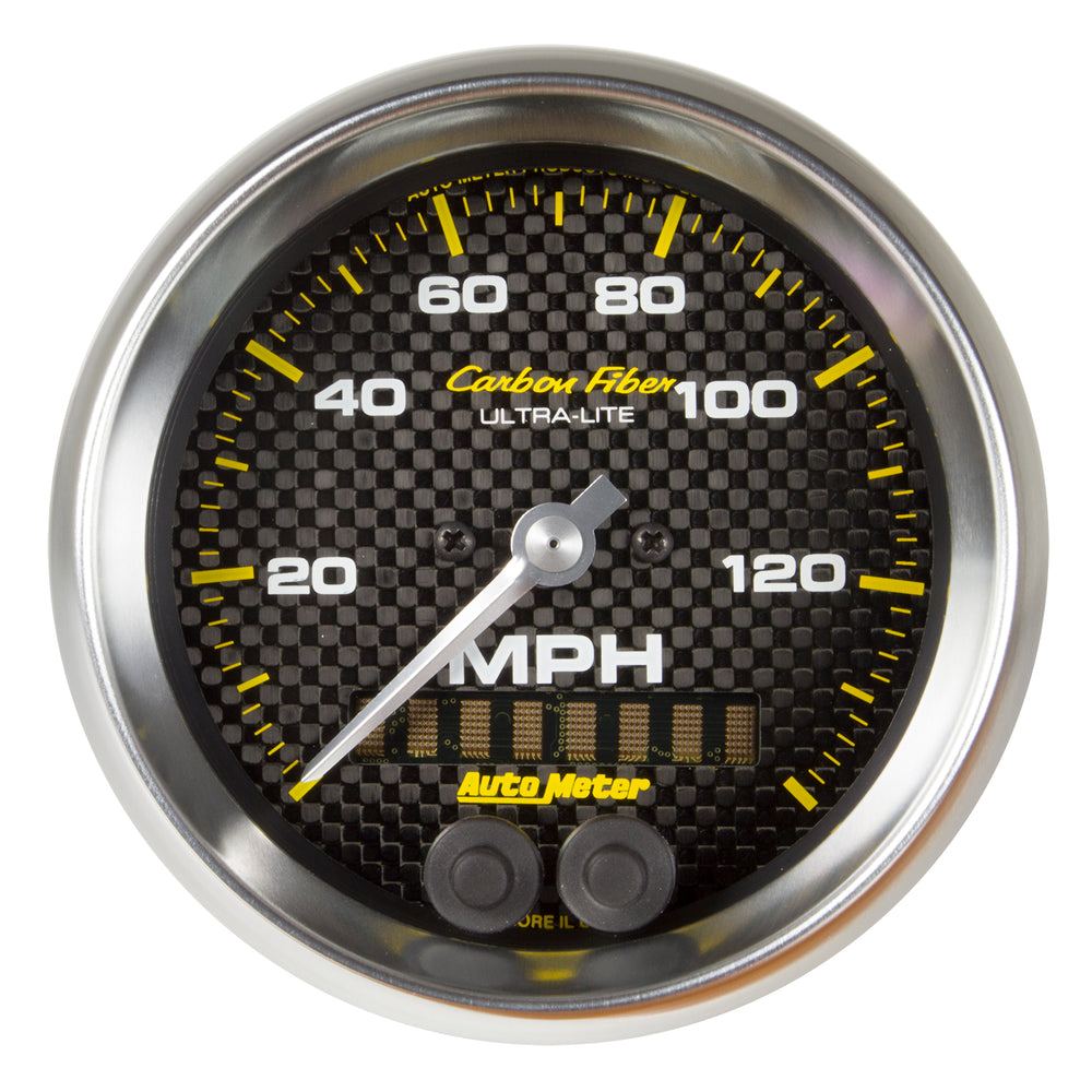 GAUGE, SPEEDOMETER, 3 3/8in, 140MPH, GPS, CARBON FIBER