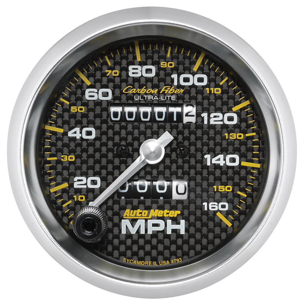 GAUGE, SPEEDOMETER, 3 3/8in, 160MPH, MECHANICAL, CARBON FIBER