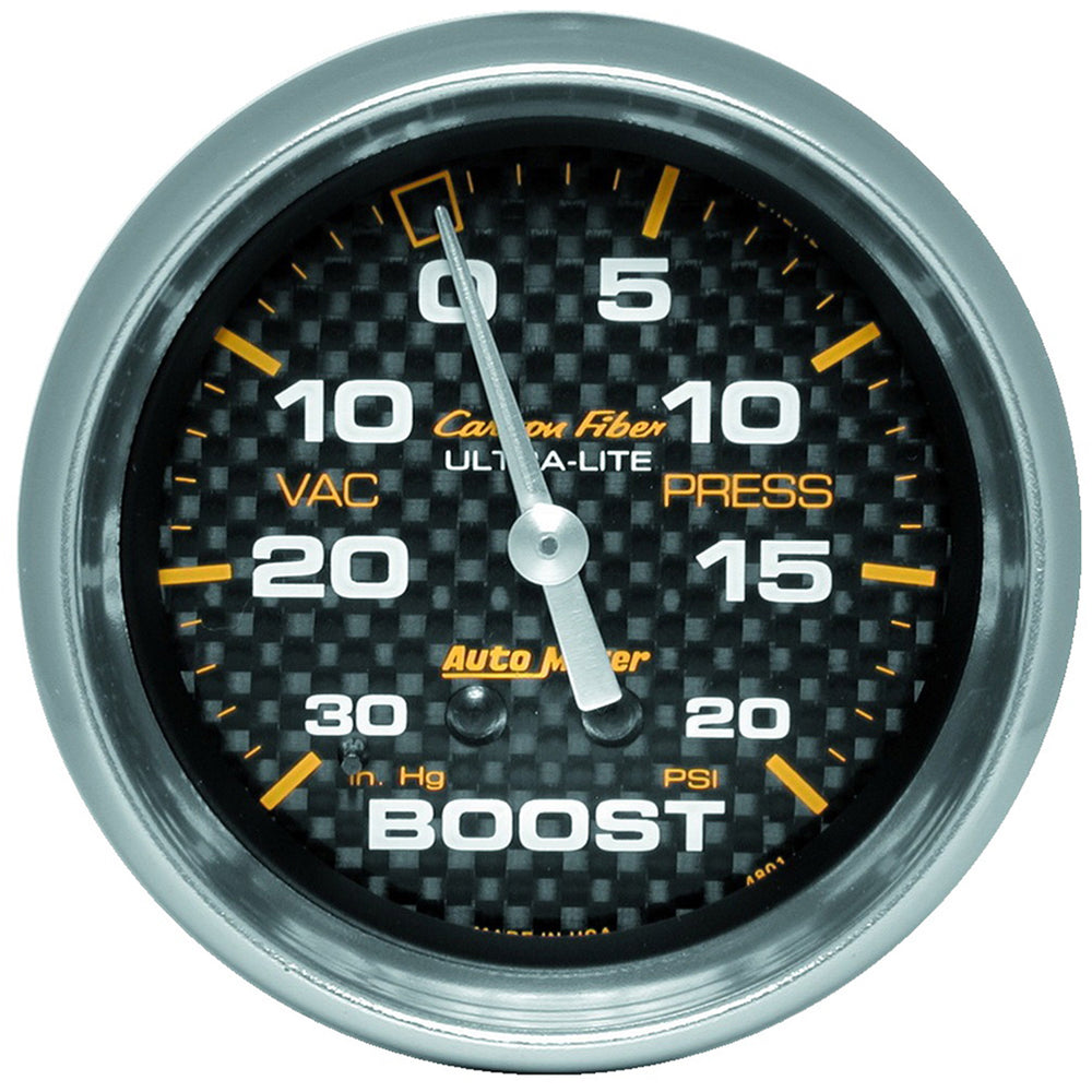 GAUGE, VAC/BOOST, 2 5/8in, 30INHG-20PSI, MECHANICAL, CARBON FIBER