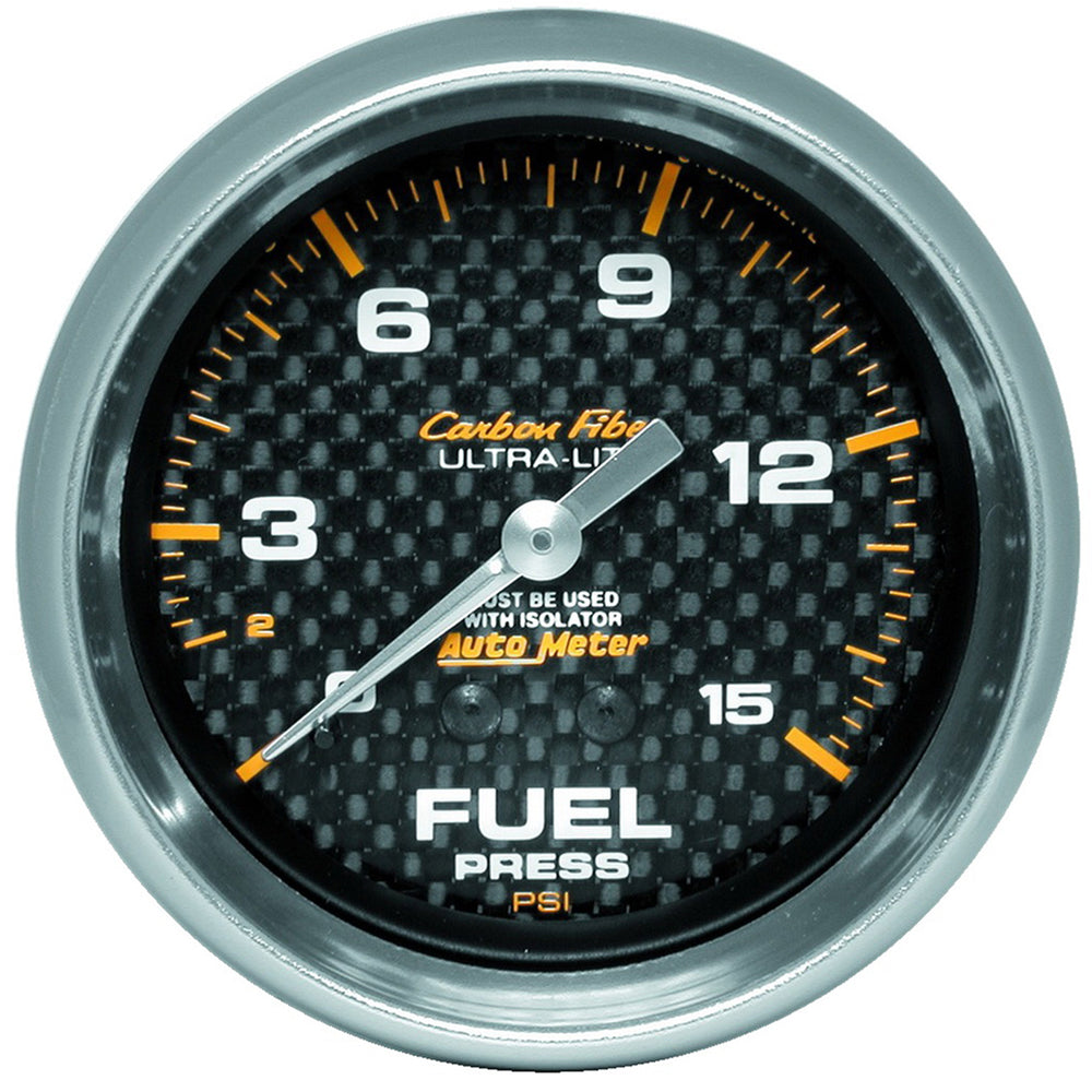 GAUGE, FUEL PRESSURE, 2 5/8in, 15PSI, MECH. INCL. ISOLATOR, CARBON FIBER