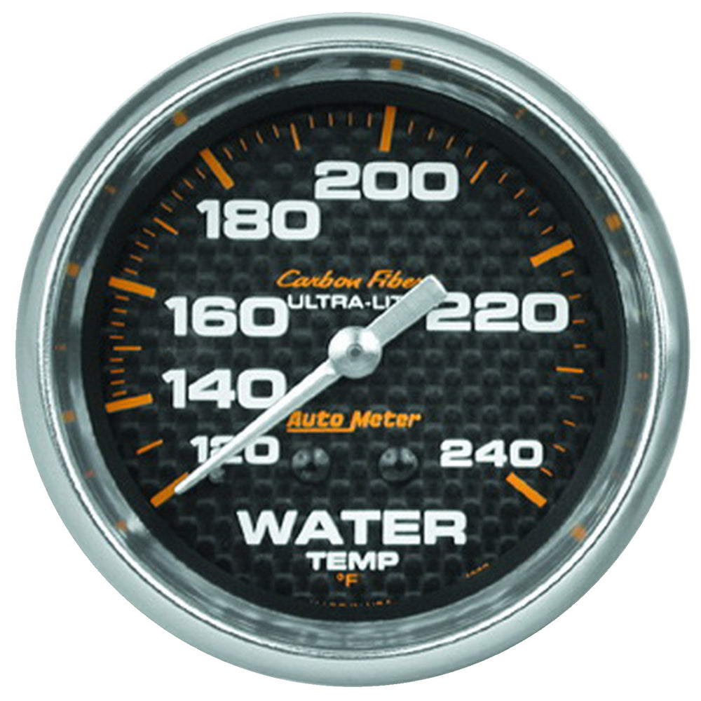 GAUGE, WATER TEMP, 2 5/8in, 120-240?F, MECHANICAL, CARBON FIBER