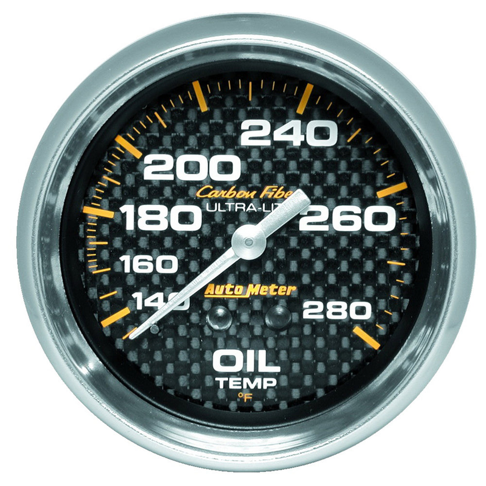GAUGE, OIL TEMP, 2 5/8in, 140-280?F, MECHANICAL, CARBON FIBER