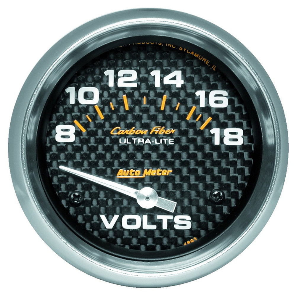 GAUGE, VOLTMETER, 2 5/8in, 18V, ELECTRIC, CARBON FIBER
