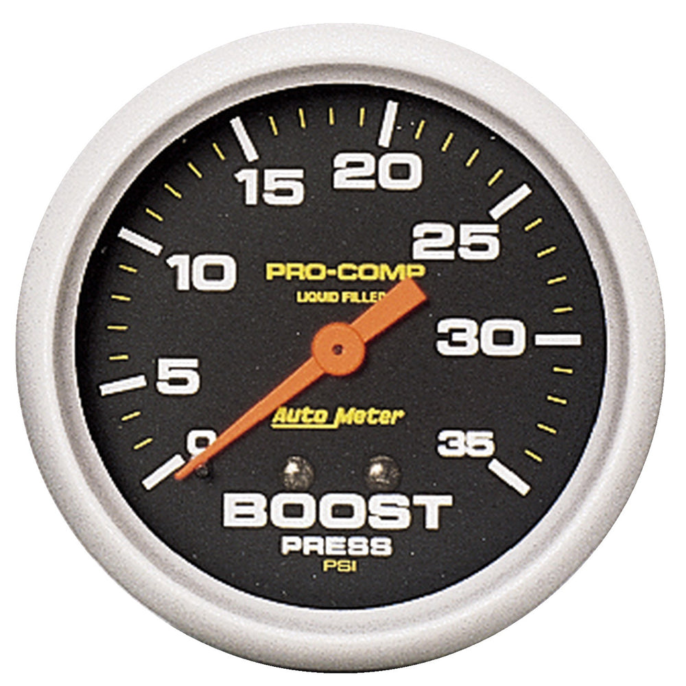 GAUGE, BOOST PRESS, 2 5/8in, 35PSI, LIQUID FILLED MECH, PRO-COMP