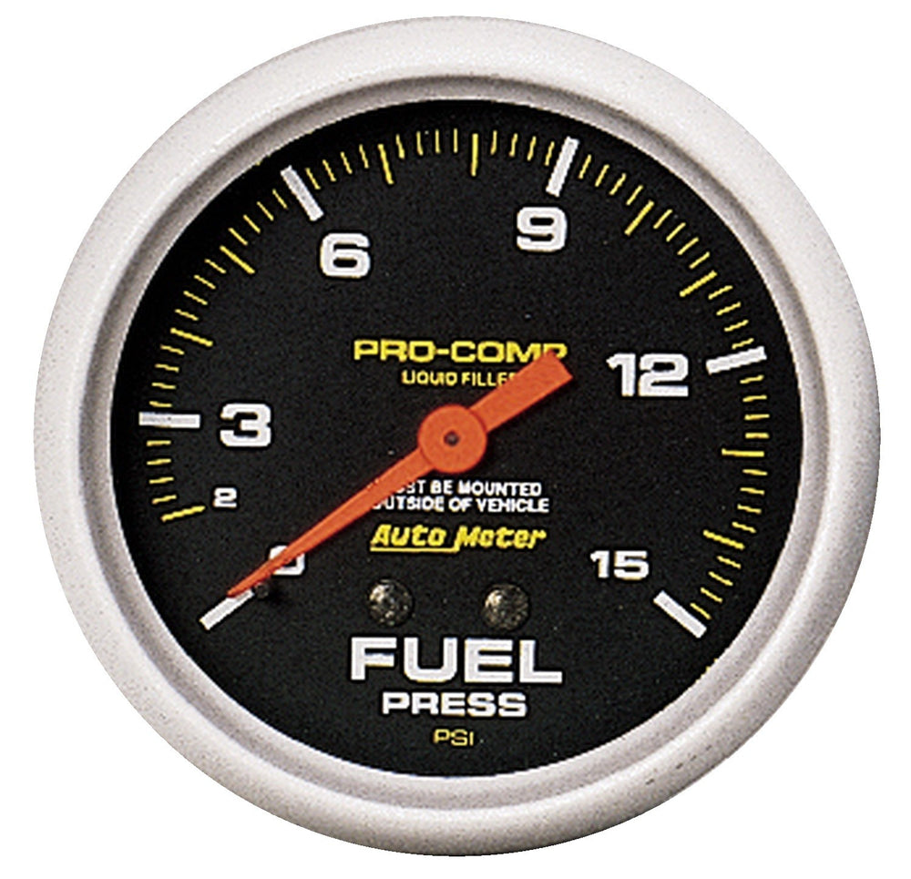 GAUGE, FUEL PRESS, 2 5/8in, 15PSI, LIQUID FILLED MECH, PRO-COMP