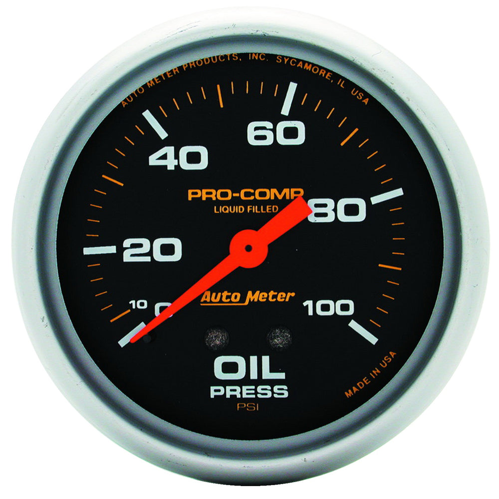 GAUGE, OIL PRESS, 2 5/8in, 100PSI, LIQUID FILLED MECH, PRO-COMP