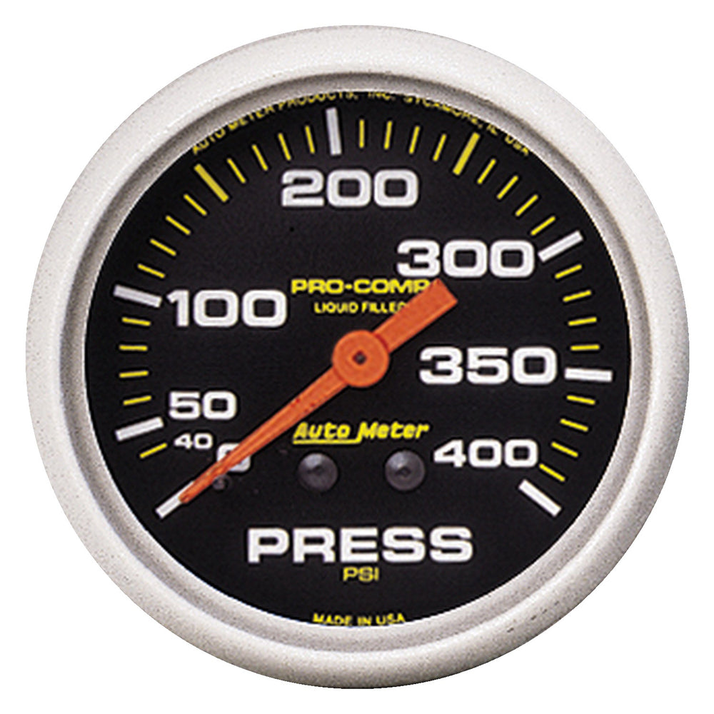 GAUGE, PRESSURE, 2 5/8in, 400PSI, LIQUID FILLED MECH, PRO-COMP