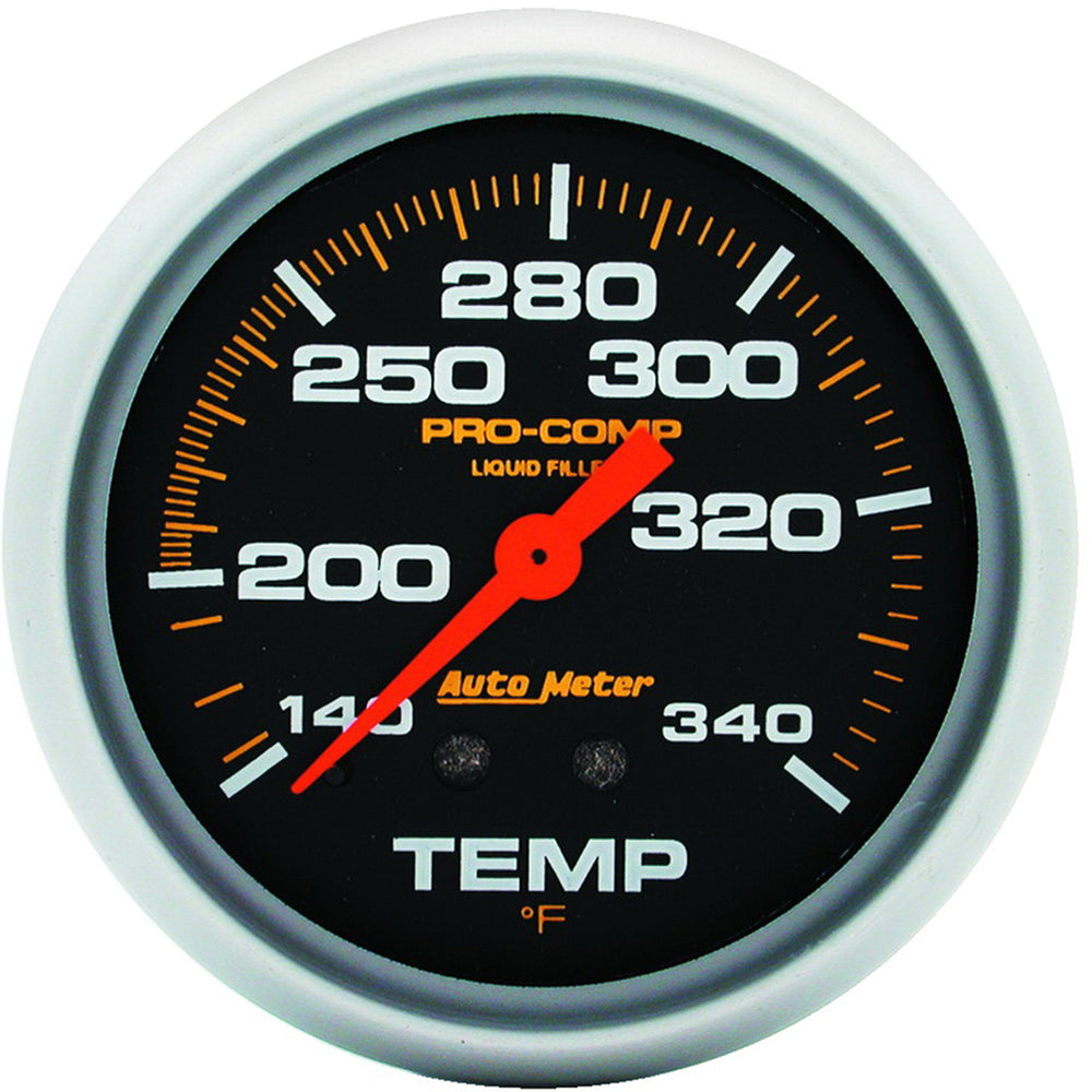 GAUGE, TEMPERATURE, 2 5/8in, 140-280?F, LIQUID FILLED MECH, 8FT., PRO-COMP