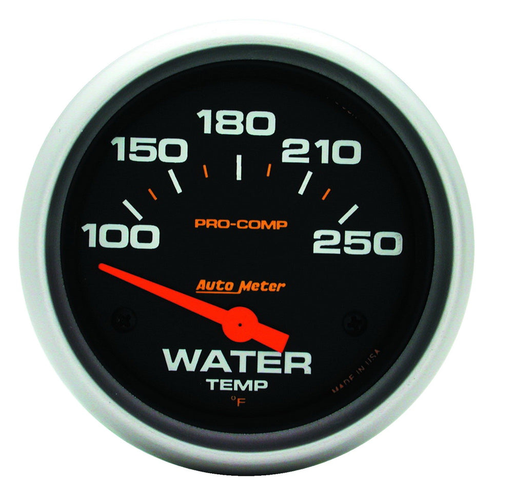 GAUGE, WATER TEMP, 2 5/8in, 100-250?F, ELECTRIC, PRO-COMP