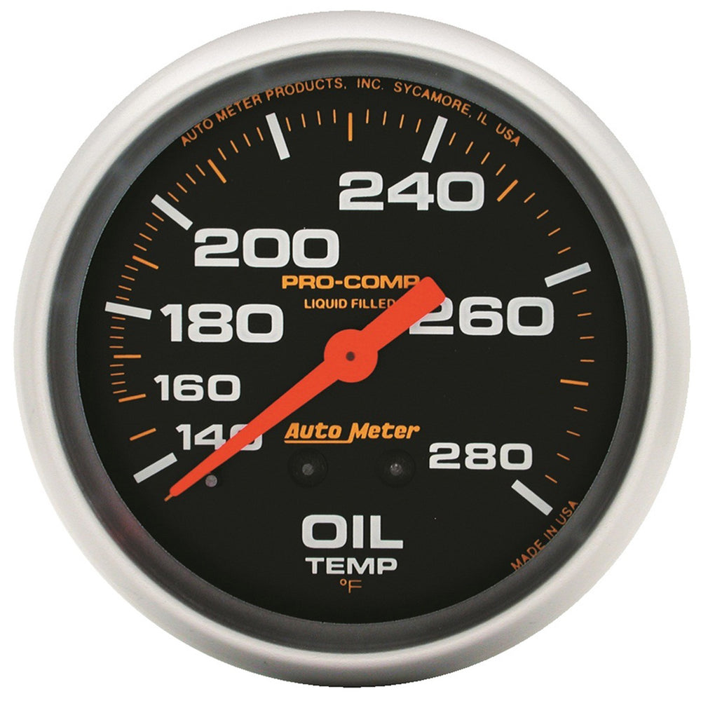 GAUGE, OIL TEMP, 2 5/8in, 140-280?F, LIQUID FILLED MECH, PRO-COMP