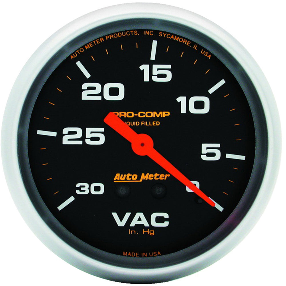 GAUGE, VACUUM, 2 5/8in, 30INHG, LIQUID FILLED MECH, PRO-COMP