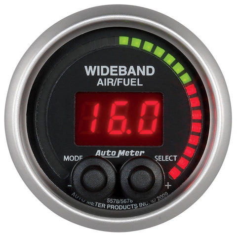 GAUGE, AIR/FUEL RATIO-PRO, 2 1/16in, 10:1-20:1, DIGITAL W/ PEAK & WARN, ELITE
