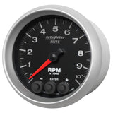GAUGE, TACH, 3 3/8in, 10K RPM, IN-DASH W/ SHIFT LIGHT & PEAK MEM, ELITE