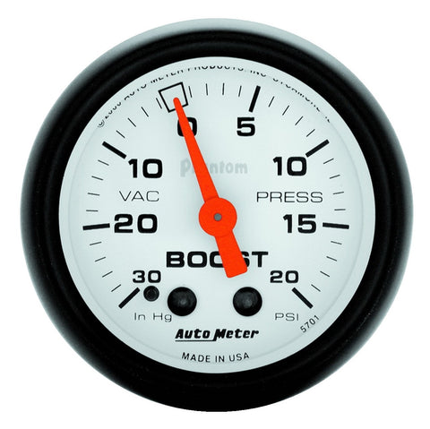 GAUGE, VAC/BOOST, 2 1/16in, 30INHG-20PSI, MECHANICAL, PHANTOM