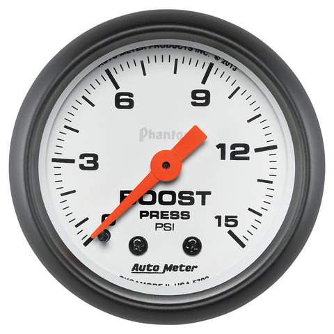 GAUGE, BOOST, 2 1/16in, 15PSI, MECHANICAL, PHANTOM