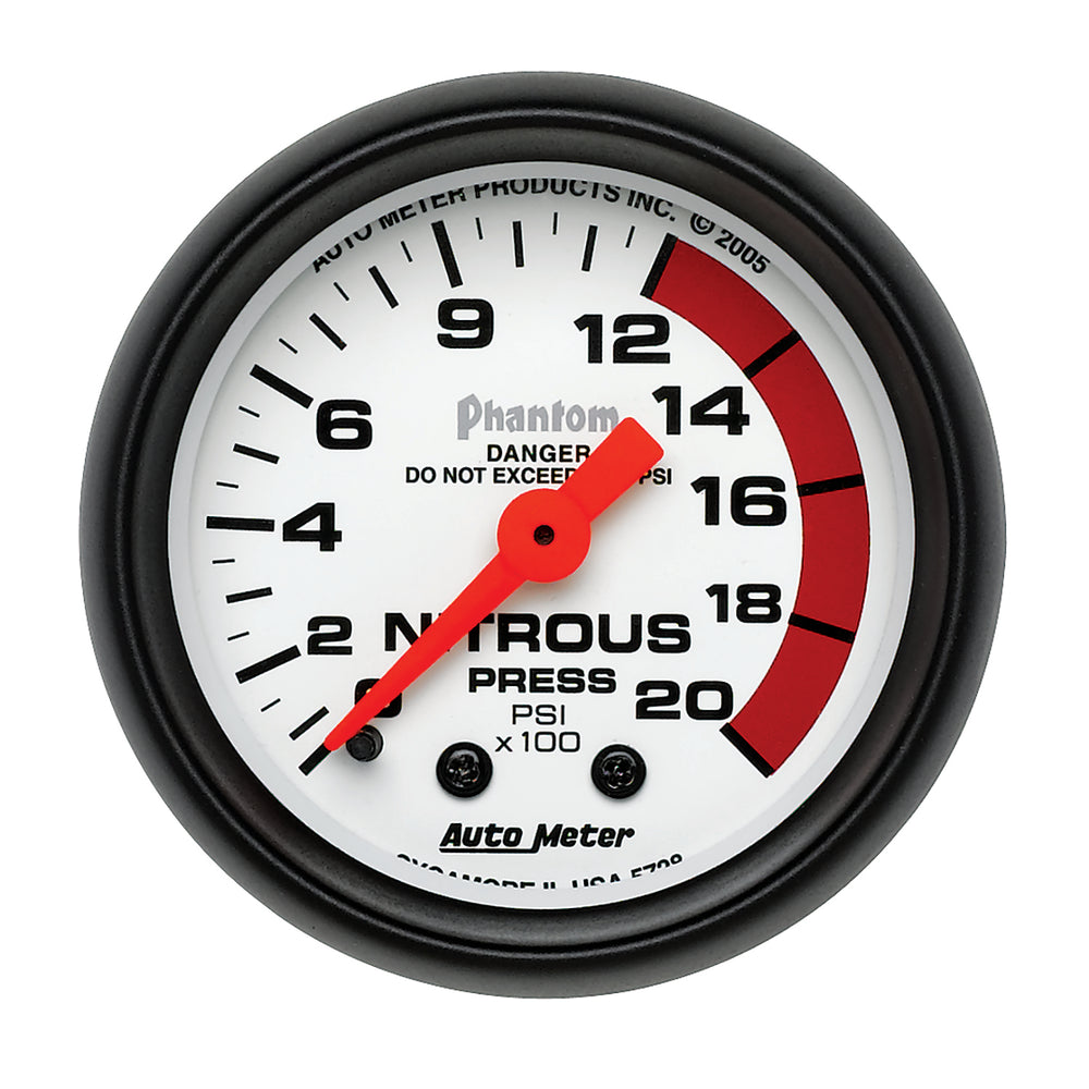 GAUGE, NITROUS PRESSURE, 2 1/16in, 2000PSI, MECHANICAL, PHANTOM