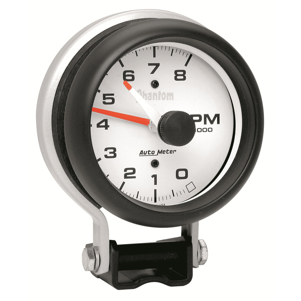 GAUGE, TACHOMETER, 3 3/4in, 8K RPM, PEDESTAL W/ RED LINE, PHANTOM