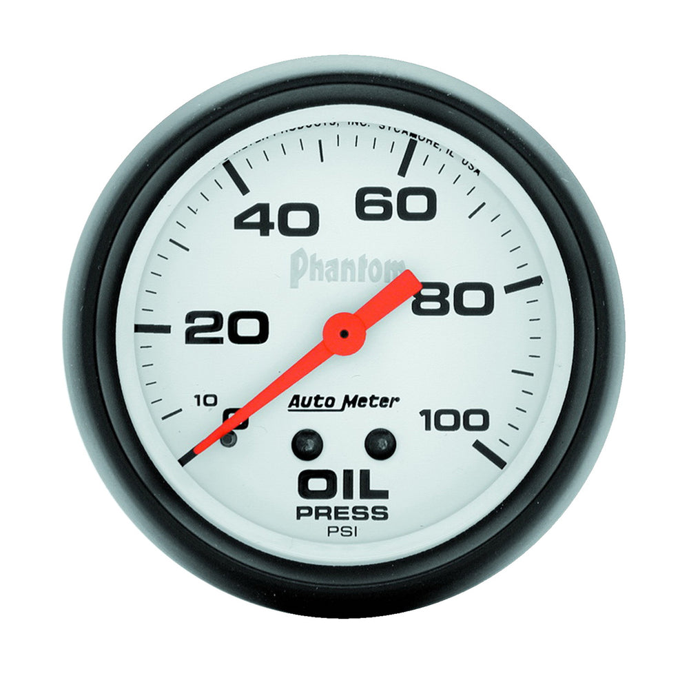 GAUGE, OIL PRESSURE, 2 5/8in, 100PSI, MECHANICAL, PHANTOM
