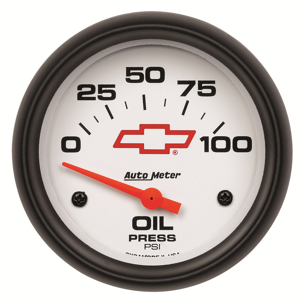 GAUGE, OIL PRESSURE, 2 5/8in, 100PSI, ELECTRIC, GM BOWTIE WHITE