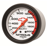 GAUGE, NITROUS PRESSURE, 2 5/8in, 2000PSI, MECHANICAL, GM BOWTIE WHITE